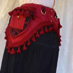 Pirate pocket belt  black and red fancy door bluemoonkatherine, $160.00