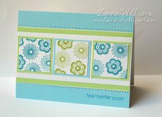 Get well card w 2 colors, 3 panels, mats and paper piercing