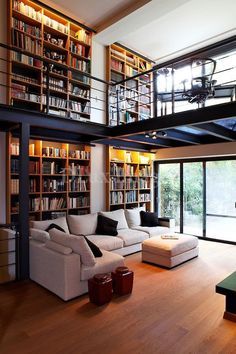 Home Interior Design — modern contemporary living room with mezzanine (. Home Library Design, Loft Design, House Design, Modern Library, Library Ideas, Library Room, Garden Design, Dream Library, Design Homes