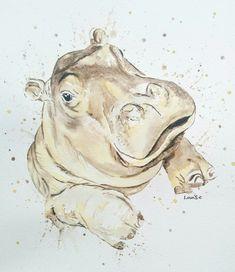 Baby hippo painting in watercolour splash style. Baby hippo painting in watercolour splash style. Easy Watercolor, Watercolor Animals, Watercolor Paintings, Original Paintings, Cute Hippo, Baby Hippo, Baby Animals, Wild Animals, Hippo Drawing
