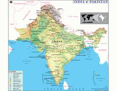 India Pakistan Map - The Map of India and Pakistan showing the geographical location of the countries along with their capitals, international boundaries, surrounding countries, major cities and point of interest. Pakistan Map, India And Pakistan, Kashmir Map, Map Of Continents, Writing Posters, Geography Map, Asia Map, India Images, Printable Maps
