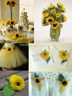 sunflower theme... Look at that tutu for the little girls !!! OH I LOVE THAT!! Add some Blue tule too!!