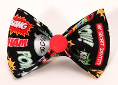 Dog Collar Bow Tie - Black and Red 'Superhero'