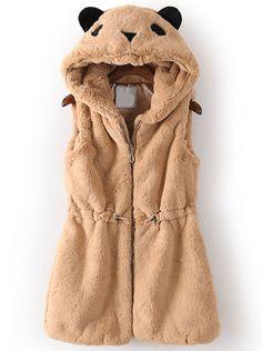 Khaki Hooded Sleeveless Drawstring Bear Style Vest - Sheinside.com
