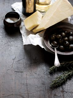 cheese, olives, wine