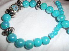 Handmade bead jewelry  Blue beaded Necklace  by DevineEssence, $15.99