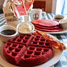 Red Velvet Waffles and Pancakes made with Loveless Cafe Belgian Waffle Mix