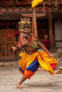 Cham dance with traditional mask of Bhairab. More info at www.traditionalartofnepal.com