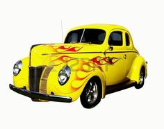 flamed yellow coupe hot rod