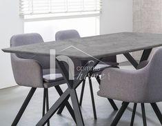 Table à manger design effet béton et acier noir CRUZAR 2