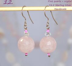 925 Sterling Silver light earrings with Pink Quartz. http://stores.ebay.ie/SilverTrend4U/_i.html?rt=nc&_sid=721432039&_trksid=p4634.c0.m14.l1581&_pgn=2