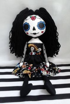 OOAK Day Of The Dead Art Rag Doll Marie by ChamberOfDolls on Etsy