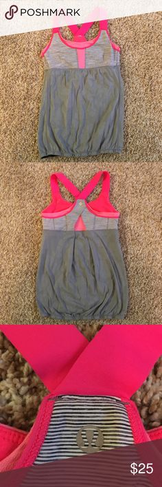 Lululemon My Heart Races Tank in very good condition. lightly used, no major wear. built in bra, banded bottom with grip to keep it from rising up. size 6-  fits a small lululemon athletica Tops Tank Tops
