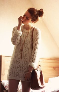 Knitted dress for a lazy day. would look adorable with my boots and tights