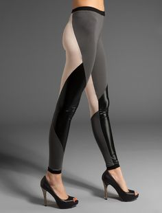 Abstract Style Leggings in Black leather, Nude, and Gray for Women. best fit on trend for Fall 2012. $34.00, via Etsy.