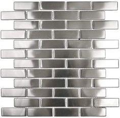 Stainless steel backsplash tile, an alternative to mirror