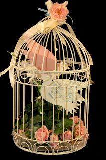 Vintage decorated bird cage -- by Susan LaCroix, www.stampingwithsusan.com