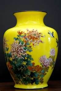 Japanese Cloisonne' vase from Meiji Period with imperial yellow background.