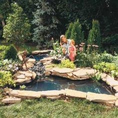 How to Build a Water Garden Stream  How to build a pond and waterfall using preformed shells.  Add the magic of moving water to your backyard, with a waterfall and pond. Our instructions show you how to build them using preformed shells for simplicity.