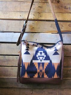 NEW!!!! Navy, grey and orange Navajo purse with leather bottom/ boho fringe purse