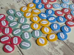 Colourful custom name badges. Customise your own for 75p each. great for parties.