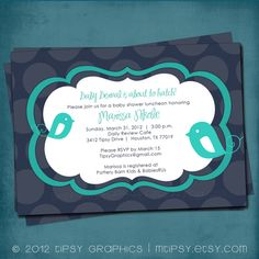 04ad32741948 Items similar to Turquoise Bird and Navy Polka Dot Baby Shower Invitation.  ANY COLORS. Customized for your Baby or Bridal Shower by Tipsy Graphics on  Etsy