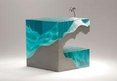 Laminated float glass, cast concrete and bronze. W4300mm x D300mm x H300mm