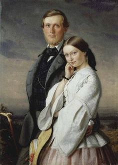 """history-of-fashion: """" 1858 Adolf Henning - Children of the artist """" Family Portrait Painting, Couple Painting, Portrait Paintings, Woman Painting, Best Portraits, Couple Portraits, Victorian Portraits, Vintage Wedding Photography, Old Paintings"""