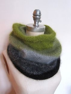Ombre Cowl in Rowan Kidsilk Haze, a yarn that wows with its colors, and its silky feel. Free pattern.