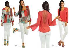 """Modelo Esquerda: Blusa (ref.: BLV1610) Calça marca """"Lois"""" Modelo Direita: Túnica (ref.: TKV1623) Calça marca italiana """"Lois"""""""