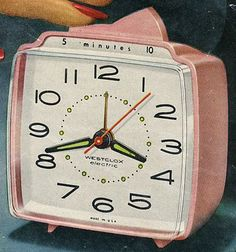 """June 8, 1956 – General Electric/Telechron introduces model 7H241 """"The Snooz Alarm"""", first snooze alarm clock ever"""