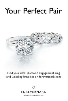 """Forevermark diamonds make it easy to say """"yes!"""" to your perfect match. Discover the most beautiful Solitaire Ring and Diamond Wedding Band Set on forevermark.com"""