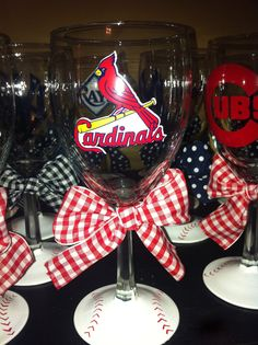 CARDINALS WINE GLASS!  $15   http://www.etsy.com/listing/96785266/cardinals-wine-glass