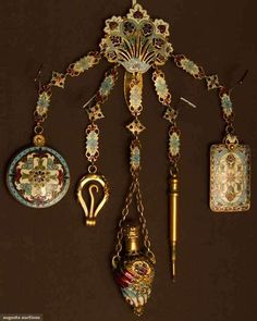 ENAMEL CHATELAINE, EUROPE,   c. LATE 19TH CENTURY