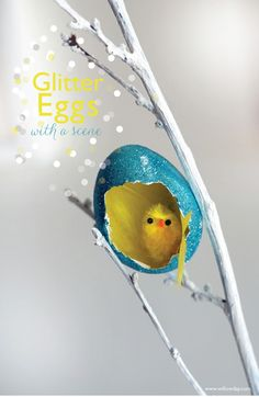 Glitter Egg Ornaments with Dioramas or Monograms