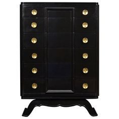 "French Art Deco period ""chiffonier"" (tall chest of drawers) in ebonized walnut w/ a lustrous French polish finish, 6 dovetailed drawers and fabulous brass hardware. From a private collector in Lyon (France). Art Deco Furniture, Furniture Styles, Modern Furniture, Furniture Storage, Art Deco Decor, Art Deco Design, Art Deco Period, Art Deco Era, Elegant Home Decor"