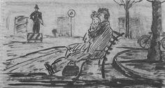 E. Besozzi pitt. s.d. (1954) Personaggi china su carta cm. 11x20 arc. 1245