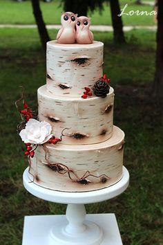 Birch Tree Wedding Cake by Lorna - http://cakesdecor.com/cakes/263093-birch-tree-wedding-cake