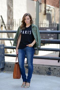 Blogger Sharing My Sole pairs Gap jeans with an army green jacket.