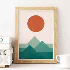 Sunset over the Mountains Minimalist Modern Print by MeloPrints