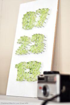 Birth Date String Art - Perfect for a nursery! Tutorial at LoveGrowsWild.com