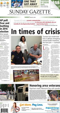 The front page of the Taunton Daily Gazette for Sunday, May 29, 2016.