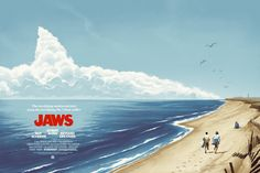 JAWS variant poster by Phantom City Creative, on sale at the Alamo Drafthouse Austin's JAWS on the Water screenings! Horror Movie Posters, Jaws Movie Poster, Best Movie Posters, Classic Movie Posters, Horror Movies, Cult Movies, Alamo Drafthouse, Kunst Poster, I Love Cinema
