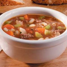 Ground Beef Vegetable Soup Recipe -Ground Beef Vegetable Soup is sure to chase the chill after a day of raking leaves or running errands. A variety of veggies along with ground beef and macaroni make this a hearty main dish. Field editor Raymonde Bourgeois of Swastika, Ontario shared the recipe.