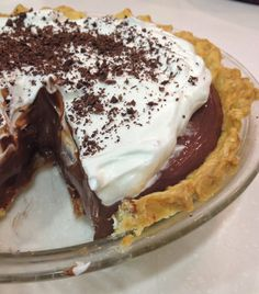Here is that pie recipe I promised you…it consists of a baked pie shell filled with the creamiest most indulgent homemade chocolate pudding contrasted nicely with slightly sweetened whipped c…