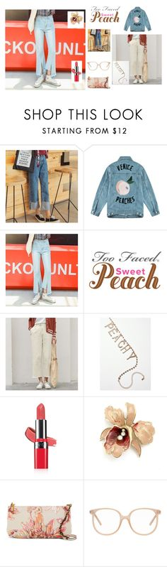 """""""Sweet Peach"""" by rocky-springs-vintage on Polyvore featuring Être Cécile, Avon, Elliott Lucca, Chloé, denimtrend and widelegjeans"""