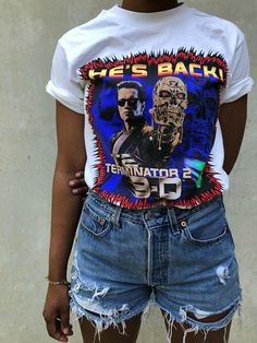 Vintage Terminator 2 White Universal Studios Theme Park T-Shirt Summer Outfits, Cute Outfits, Summer Clothes, Universal Studios Theme Park, Theme Park Outfits, Cute Themes, Vintage Tees, Teen Fashion, Colorful Shirts