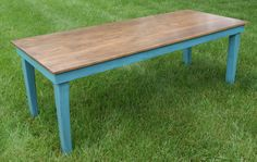 "FREE SHIPPING VIA UPS Blue Tapered Legs support this great table.  Our farm table is made to last and measures our at 32"" wide x 60"" long x 30"" tall.   Substantial amount of weight due to the oak top and poplar frame."