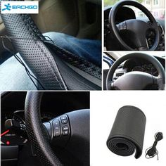 2016 New Anti-slip Breathable PU Leather DIY Car Steering Wheel Cover Case With Needles and Thread