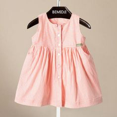 Baby Girls Cute Stripes Dresses Pocket Sleeveless Princess Dress Kid Girl Candy Color Summer Fashion Dress Online with $9.68/Piece on Smartmart's Store | DHgate.com